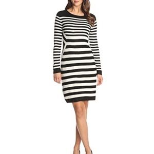 {Calvin Klein} LS, Stripe Sweater Dress, M
